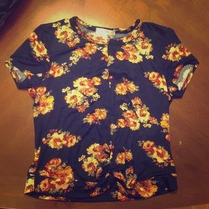Blue and yellow floral girls shirt